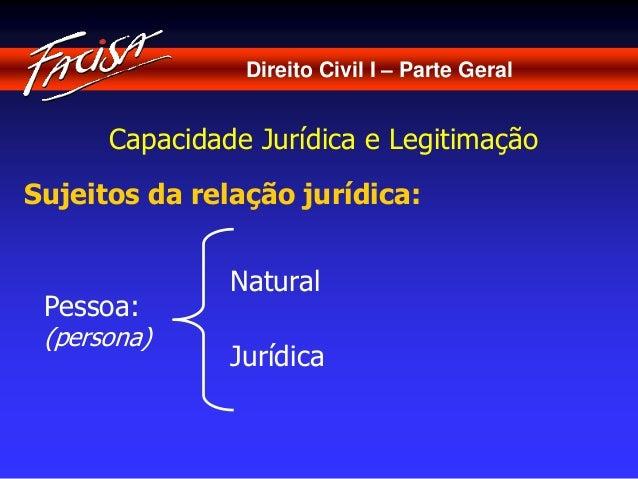 Direito Civil I – Parte Geral  Capacidade Jurídica e Legitimação  Sujeitos da relação jurídica:  Pessoa:  (persona)  Natur...