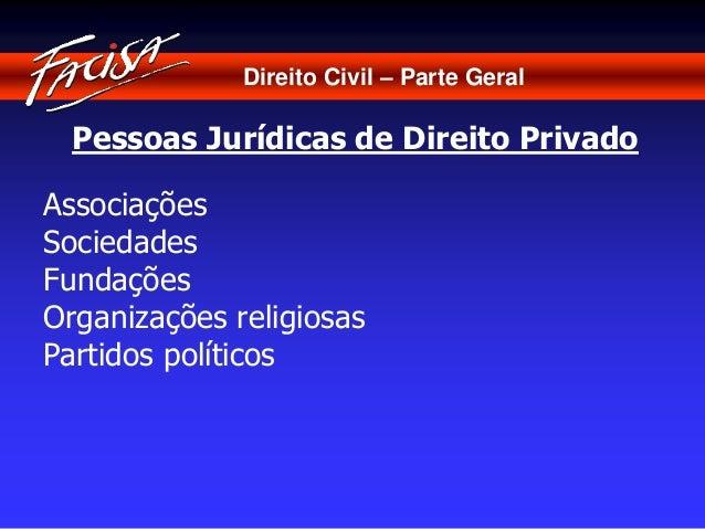 Direito Civil – Parte Geral  Pessoas Jurídicas de Direito Privado  Associações  Sociedades  Fundações  Organizações religi...