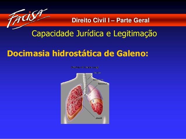 Direito Civil I – Parte Geral  Capacidade Jurídica e Legitimação  Docimasia hidrostática de Galeno: