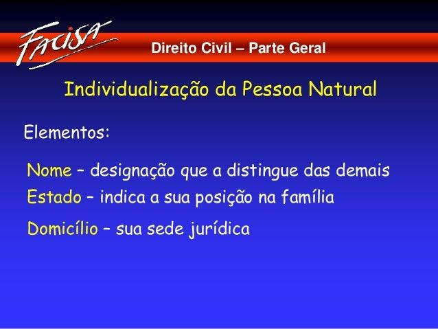 Direito Civil – Parte Geral  Individualização da Pessoa Natural  Elementos:  Nome – designação que a distingue das demais ...