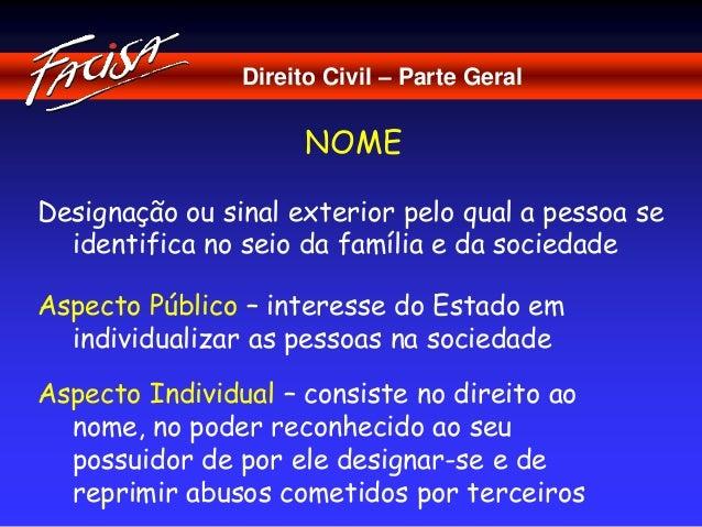 Direito Civil – Parte Geral  NOME  Designação ou sinal exterior pelo qual a pessoa se  identifica no seio da família e da ...