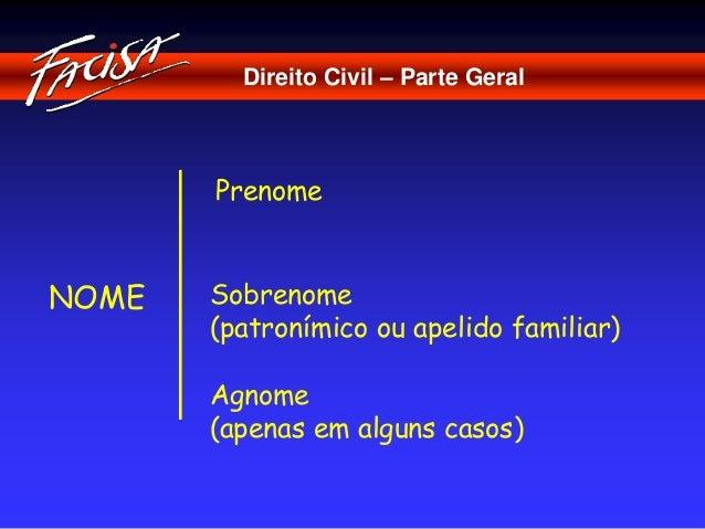 Direito Civil – Parte Geral  NOME  Prenome  Sobrenome  (patronímico ou apelido familiar)  Agnome  (apenas em alguns casos)