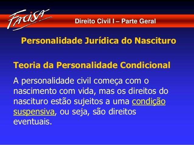 Direito Civil I – Parte Geral  Personalidade Jurídica do Nascituro  Teoria da Personalidade Condicional  A personalidade c...