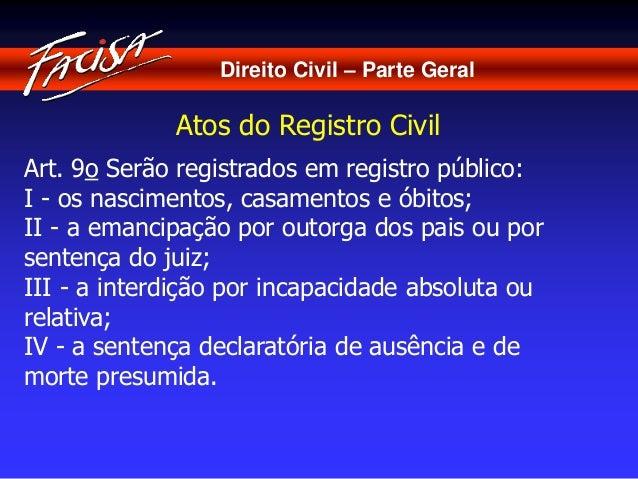 Direito Civil – Parte Geral  Atos do Registro Civil  Art. 9o Serão registrados em registro público:  I - os nascimentos, c...