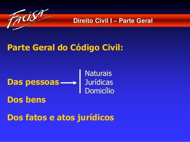 Direito Civil I – Parte Geral  Parte Geral do Código Civil:  Das pessoas  Dos bens  Naturais  Jurídicas  Domicílio  Dos fa...