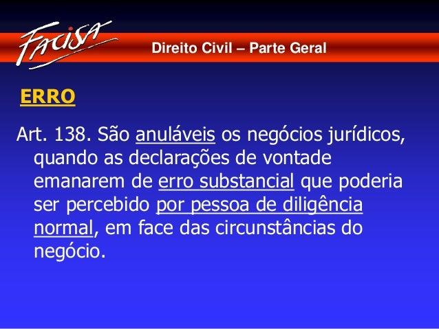 Direito Civil – Parte Geral  ERRO  Art. 138. São anuláveis os negócios jurídicos,  quando as declarações de vontade  emana...