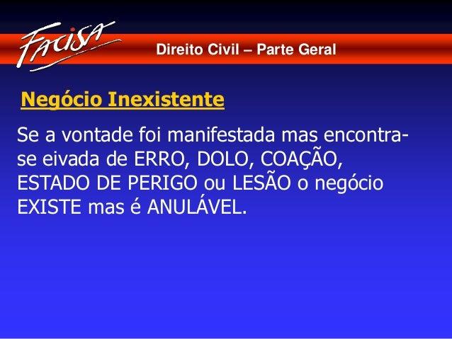 Direito Civil – Parte Geral  Negócio Inexistente  Se a vontade foi manifestada mas encontra-se  eivada de ERRO, DOLO, COAÇ...