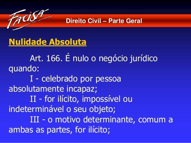 Direito Civil – Parte Geral  Nulidade Absoluta  Art. 166. É nulo o negócio jurídico  quando:  I - celebrado por pessoa  ab...