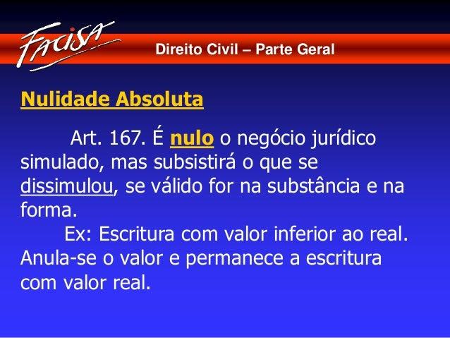 Direito Civil – Parte Geral  Nulidade Absoluta  Art. 167. É nulo o negócio jurídico  simulado, mas subsistirá o que se  di...