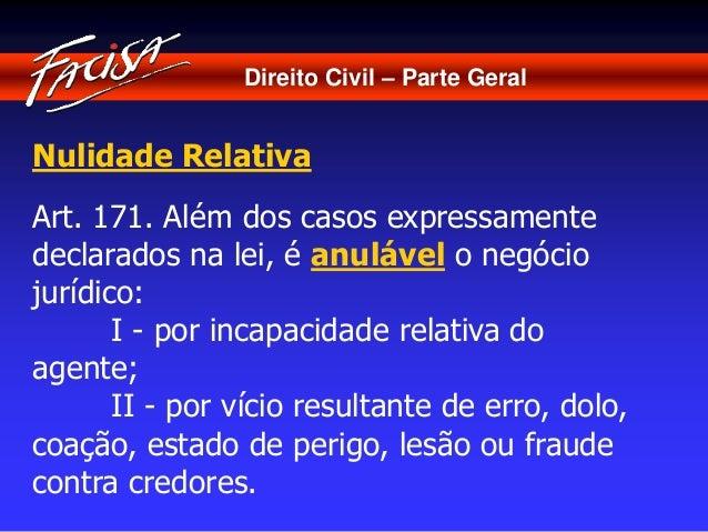 Direito Civil – Parte Geral  Nulidade Relativa  Art. 171. Além dos casos expressamente  declarados na lei, é anulável o ne...