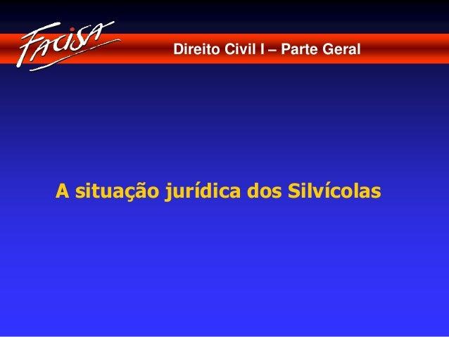 Direito Civil I – Parte Geral  A situação jurídica dos Silvícolas