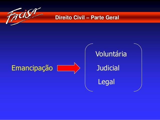 Direito Civil – Parte Geral  Emancipação  Voluntária  Judicial  Legal