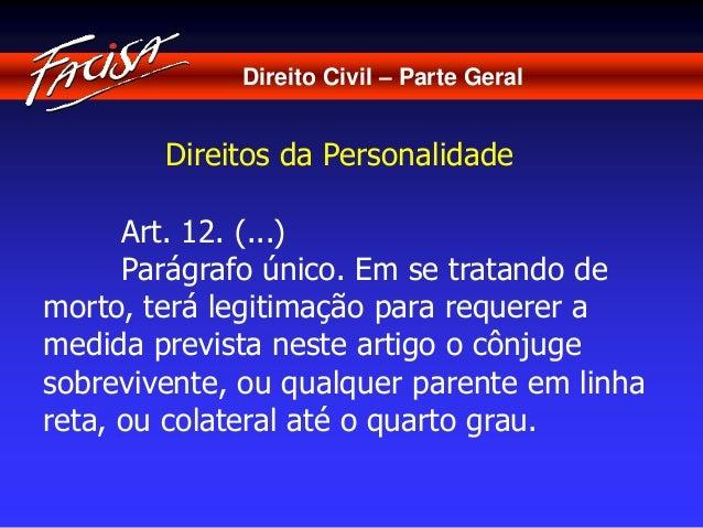 Direito Civil – Parte Geral  Direitos da Personalidade  Art. 12. (...)  Parágrafo único. Em se tratando de  morto, terá le...