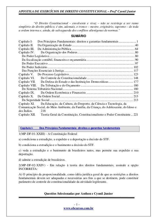 """APOSTILA DE EXERCÍCIOS DE DIREITO CONSTITUCIONAL – Profº Cyonil Junior  """"O Direito Constitucional – envolvente e vivaz – n..."""