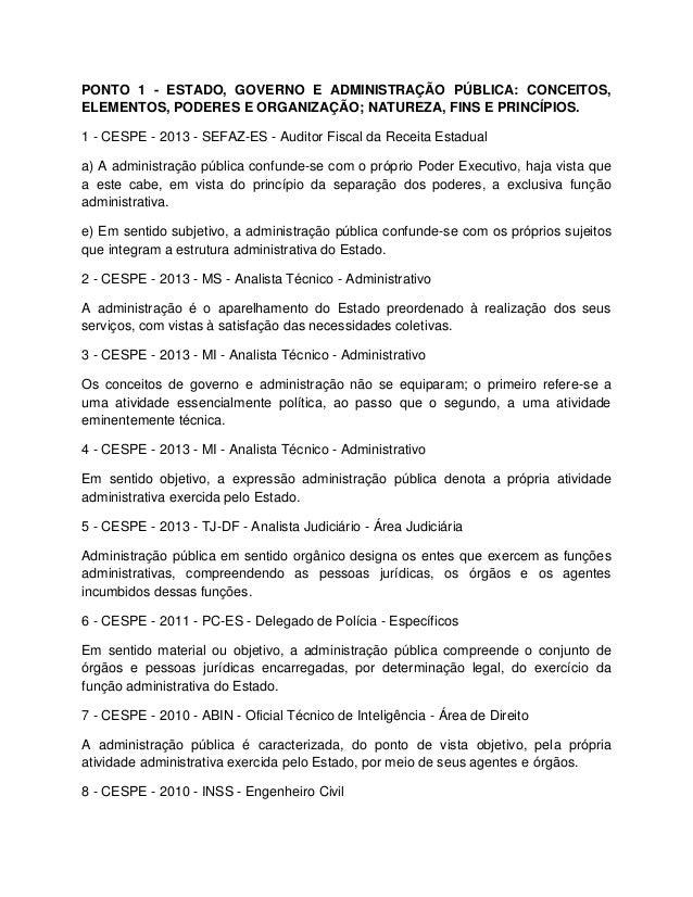 PONTO 1 - ESTADO, GOVERNO E ADMINISTRAÇÃO PÚBLICA: CONCEITOS, ELEMENTOS, PODERES E ORGANIZAÇÃO; NATUREZA, FINS E PRINCÍPIO...