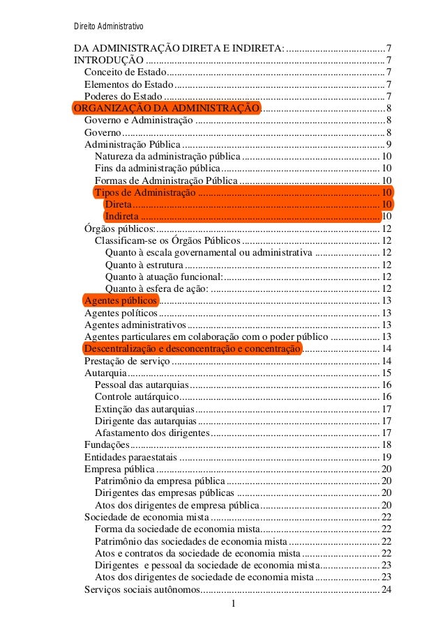 Direito Administrativo  DA ADMINISTRAÇÃO DIRETA E INDIRETA: ...................................... 7 INTRODUÇÃO .............