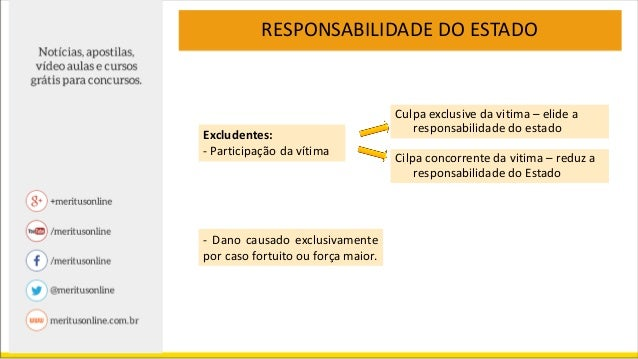 RESPONSABILIDADE DO ESTADO 2. EXCEÇÃO: Responsabilidade Subjetiva: Força maior (fenômenos da natureza) e danos causados po...