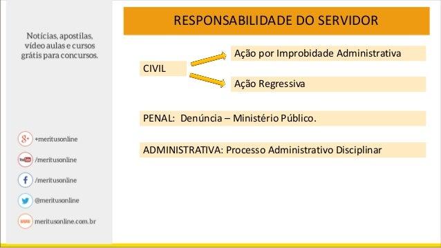 RESPONSABILIDADE DO SERVIDOR CIVIL Ação por Improbidade Administrativa Ação Regressiva ESTADO Vitima Servidor
