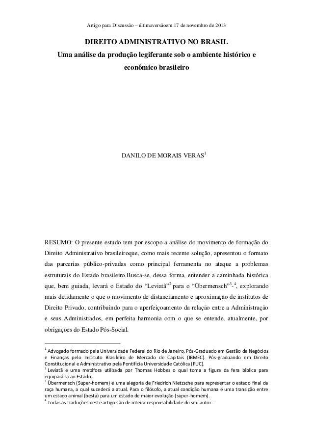Artigo para Discussão – últimaversãoem 17 de novembro de 2013  DIREITO ADMINISTRATIVO NO BRASIL Uma análise da produção le...