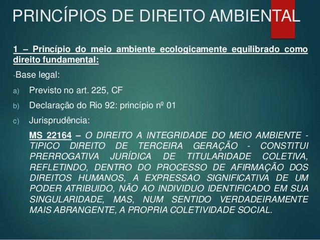 PRINCÍPIOS DE DIREITO AMBIENTAL 1 – Princípio do meio ambiente ecologicamente equilibrado como direito fundamental: -Base ...