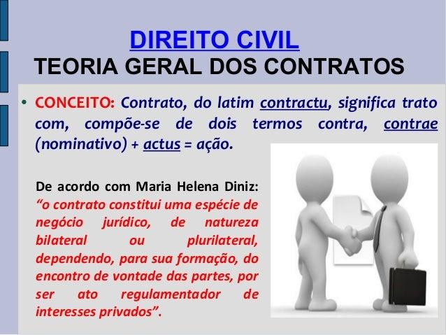 DIREITO CIVIL TEORIA GERAL DOS CONTRATOS ●  CONCEITO: Contrato, do latim contractu, significa trato com, compõe-se de dois...