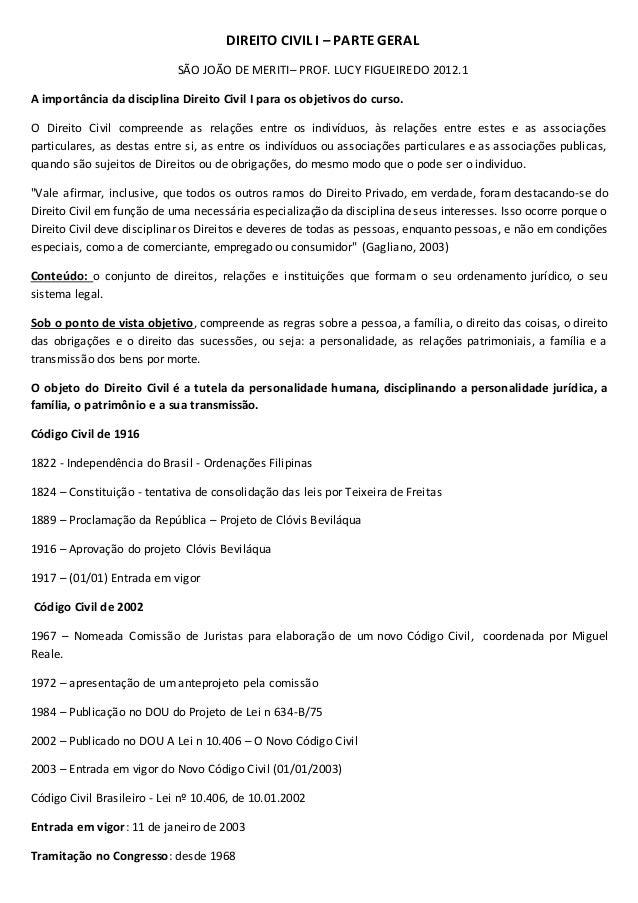 DIREITO CIVIL I – PARTE GERAL SÃO JOÃO DE MERITI– PROF. LUCY FIGUEIREDO 2012.1 A importância da disciplina Direito Civil I...
