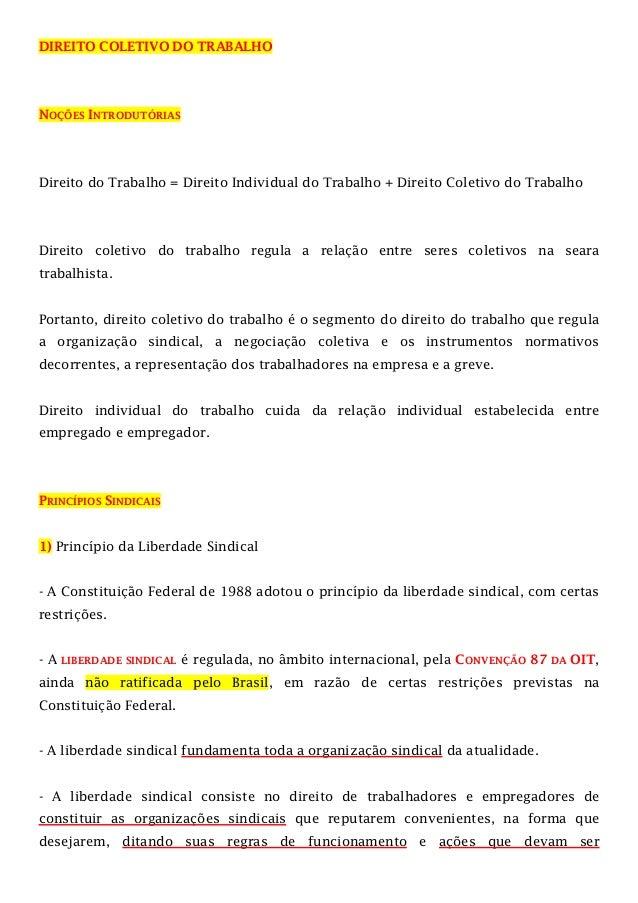 DIREITO COLETIVO DO TRABALHO  NOÇÕES INTRODUTÓRIAS  Direito do Trabalho = Direito Individual do Trabalho + Direito Coletiv...
