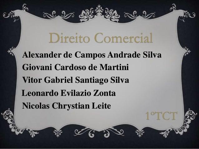 Direito Comercial Alexander de Campos Andrade Silva Giovani Cardoso de Martini Vitor Gabriel Santiago Silva 1ºTCT Leonardo...