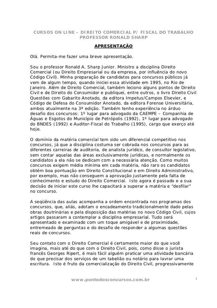 CURSOS ON LINE – DIREITO COMERCIAL P/ FISCAL DO TRABALHO                 PROFESSOR RONALD SHARP                           ...