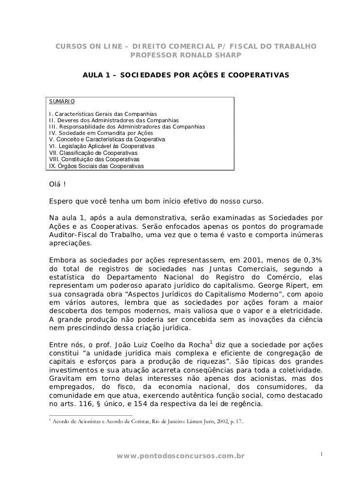 CURSOS ON LINE – DIREITO COMERCIAL P/ FISCAL DO TRABALHO                     PROFESSOR RONALD SHARP                 AULA 1...