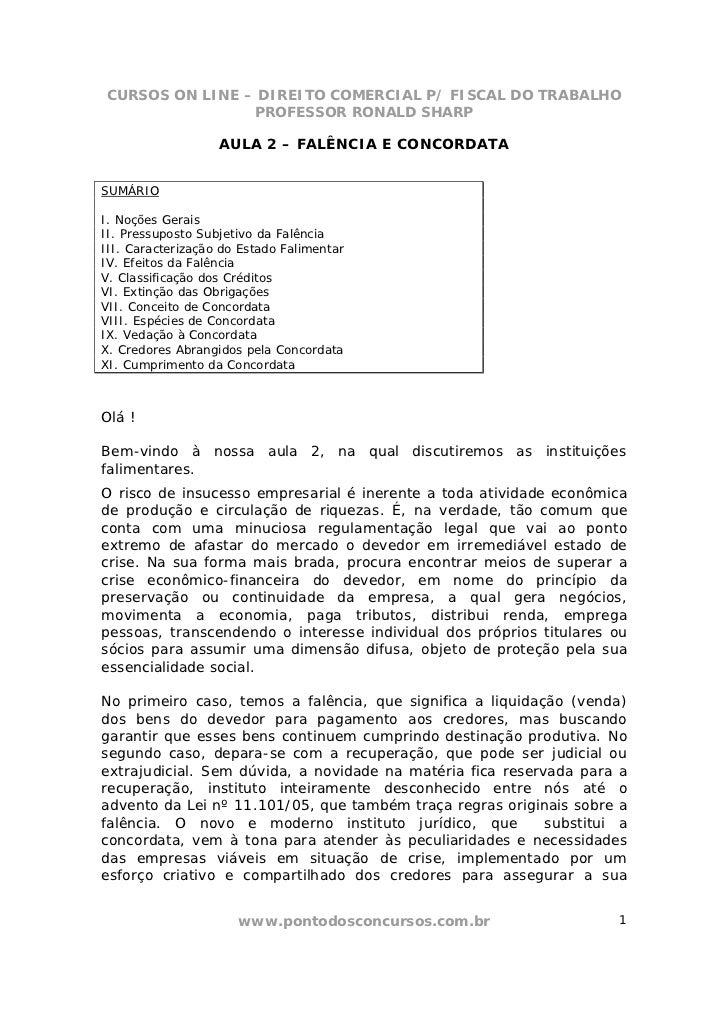 CURSOS ON LINE – DIREITO COMERCIAL P/ FISCAL DO TRABALHO                PROFESSOR RONALD SHARP                   AULA 2 – ...