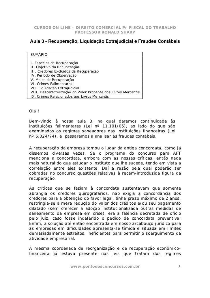 CURSOS ON LINE – DIREITO COMERCIAL P/ FISCAL DO TRABALHO                  PROFESSOR RONALD SHARPAula 3 - Recuperação, Liqu...