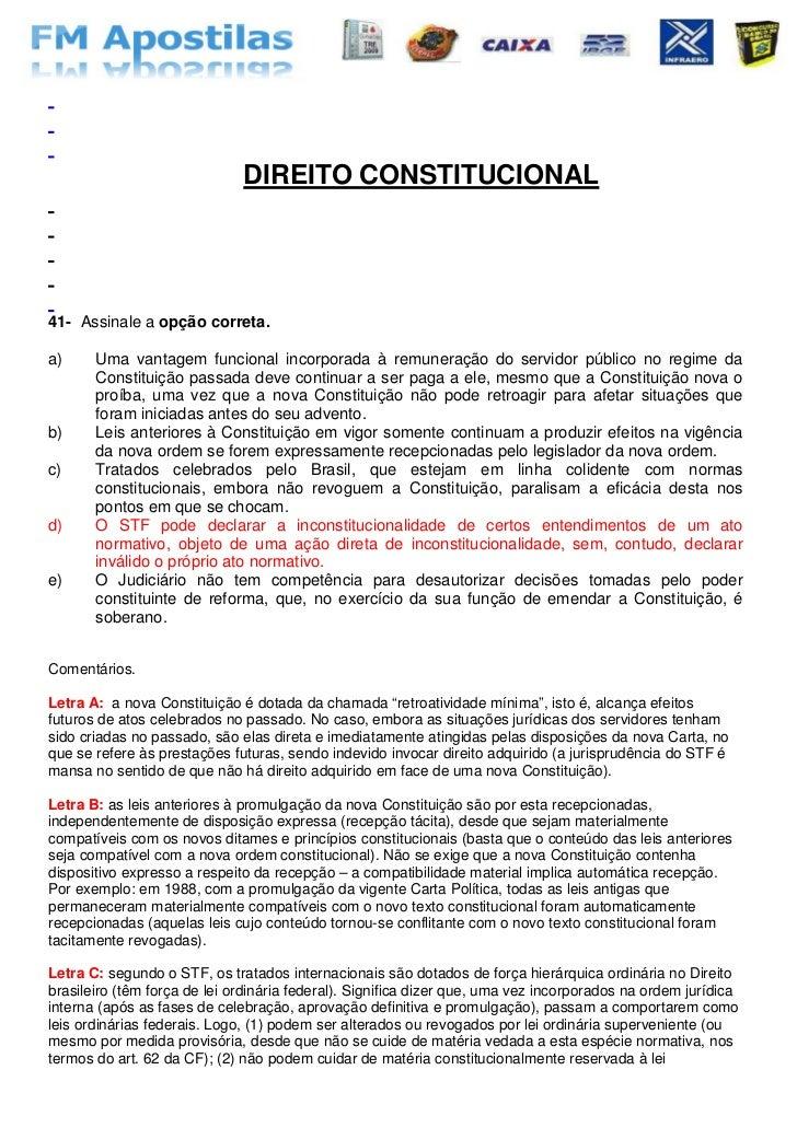 PROVAS                  RESOLVIDAS                          &        COMENTADAS                              DIREITO CONST...