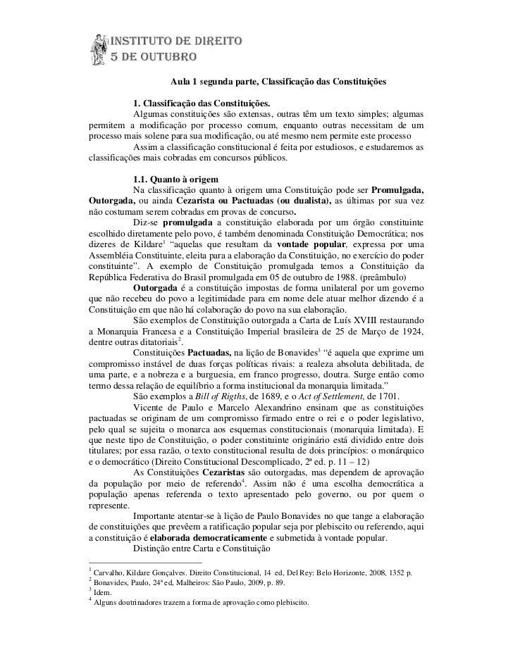 Aula 1 segunda parte, Classificação das Constituições            1. Classificação das Constituições.            Algumas co...