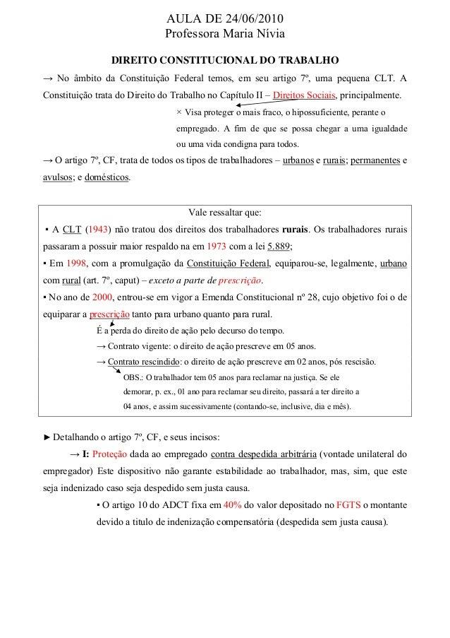 AULA DE 24/06/2010 Professora Maria Nívia DIREITO CONSTITUCIONAL DO TRABALHO → No âmbito da Constituição Federal temos, em...