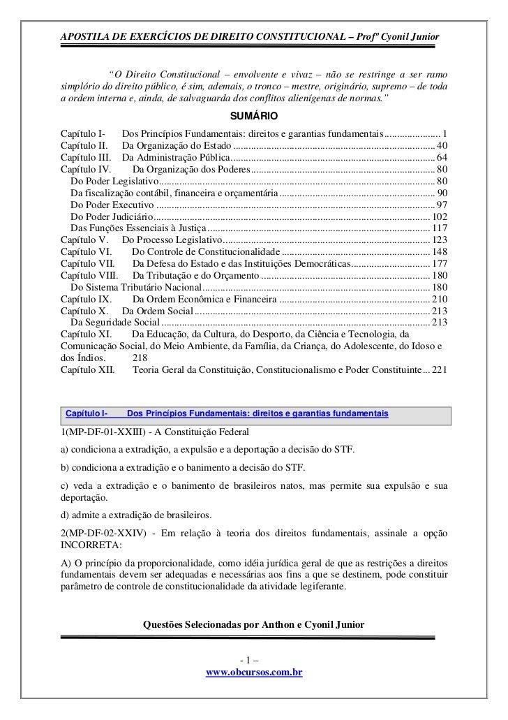 """APOSTILA DE EXERCÍCIOS DE DIREITO CONSTITUCIONAL – Profº Cyonil Junior           """"O Direito Constitucional – envolvente e ..."""