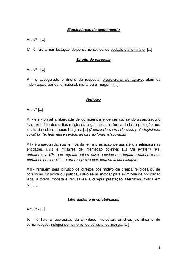 constituiÇÃo federal de 1988 resumo dos pontos principais153 Artigo Primeiro Da Constituicao #2