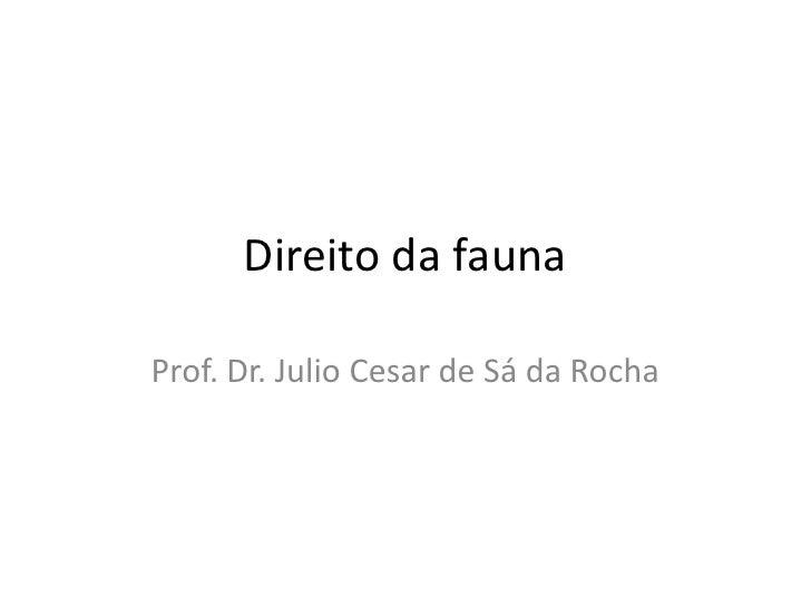 Direito da fauna<br />Prof. Dr. Julio Cesar de Sá da Rocha<br />