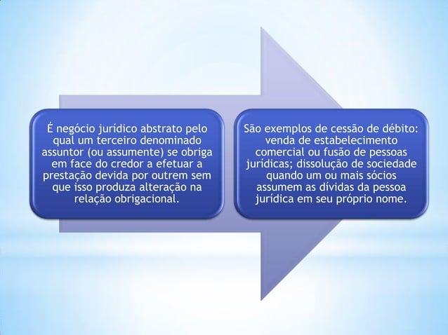 É negócio jurídico abstrato pelo qual um terceiro denominado assuntor (ou assumente) se obriga em face do credor a efetuar...