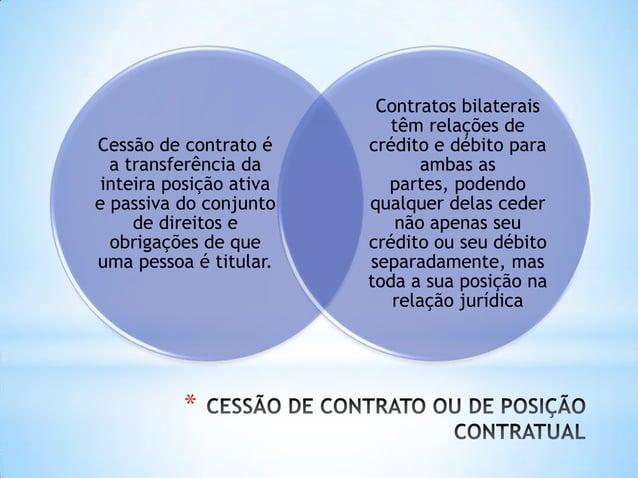 * Cessão de contrato é a transferência da inteira posição ativa e passiva do conjunto de direitos e obrigações de que uma ...