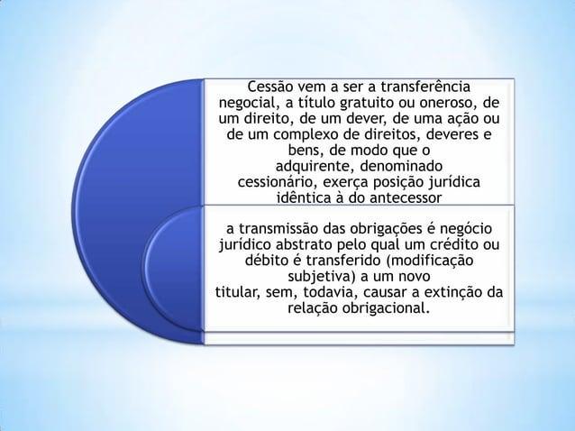 Cessão vem a ser a transferência negocial, a título gratuito ou oneroso, de um direito, de um dever, de uma ação ou de um ...