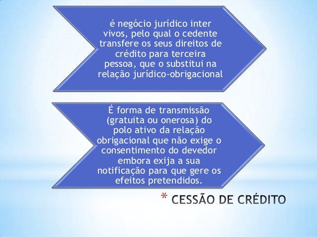 * é negócio jurídico inter vivos, pelo qual o cedente transfere os seus direitos de crédito para terceira pessoa, que o su...