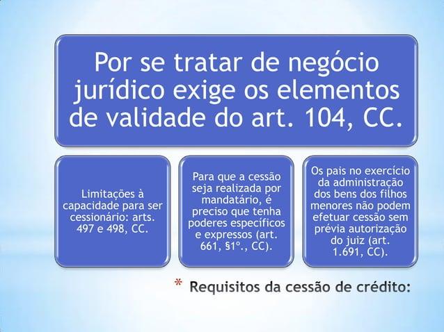 * Por se tratar de negócio jurídico exige os elementos de validade do art. 104, CC. Limitações à capacidade para ser cessi...