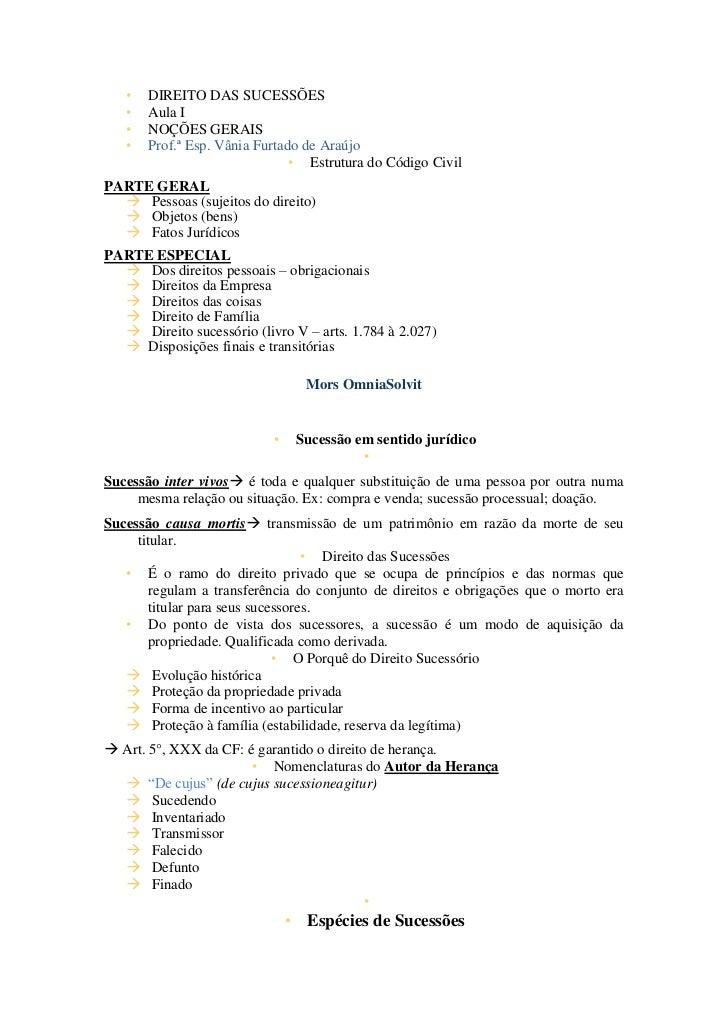 •   DIREITO DAS SUCESSÕES   •   Aula I   •   NOÇÕES GERAIS   •   Prof.ª Esp. Vânia Furtado de Araújo                      ...