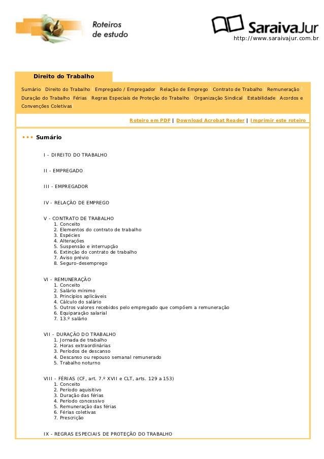 http://www.saraivajur.com.br     Direito do TrabalhoSumário | Direito do Trabalho | Empregado / Empregador | Relação de Em...