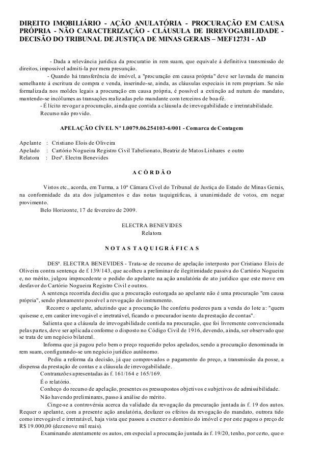 26/04/2015 DIREITOIMOBILIÁRIOAÇÃOANULATÓRIAPROCURAÇÃOEMCAUSAPRÓPRIANÃOCARACTERIZAÇÃOCLÁUSULADEIRREV… h...