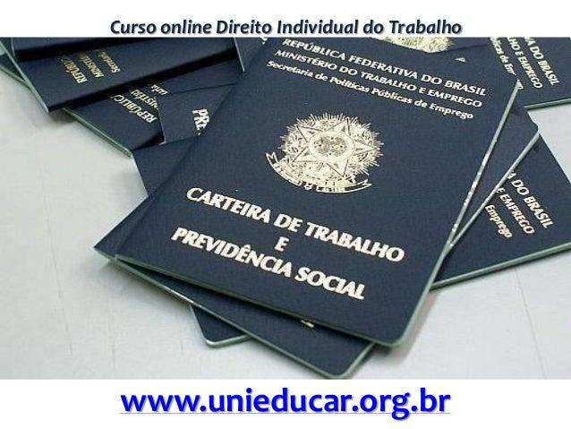 Curso online Direito Individual do Trabalho www.unieducar.org.br