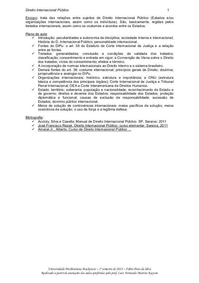Direito Internacional Público 1 Universidade Presbiteriana Mackenzie – 1º semestre de 2013 – Fábio Peres da Silva Realizad...