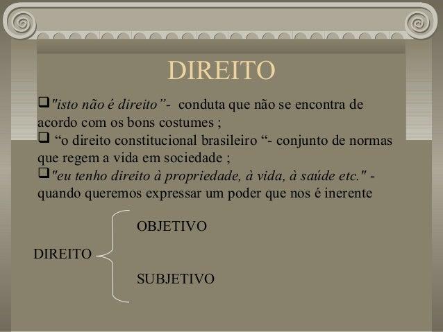 """DIREITO""""isto não é direito""""- conduta que não se encontra deacordo com os bons costumes ; """"o direito constitucional brasi..."""