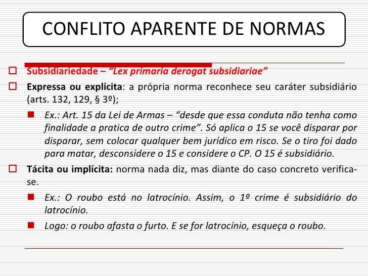 """CONFLITO APARENTE DE NORMAS  Subsidiariedade – """"Lex primaria derogat subsidiariae""""  Expressa ou explícita: a própria nor..."""